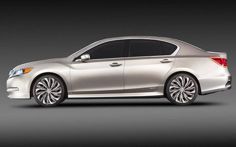 A side view of the Acura RLX Concept.