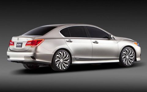 A rear view of the Acura RLX Concept.