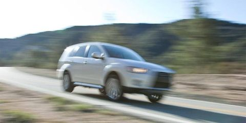 A blurry shot of the crossover in action.