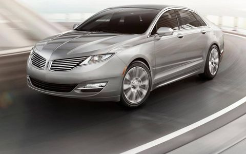 A front view of the redesigned 2013 Lincoln MKZ sedan.