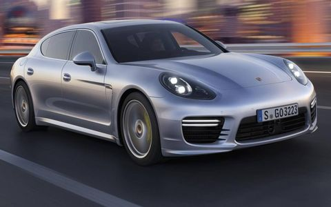 Styling changes to all Panameras include a new front fascia with larger air intakes.