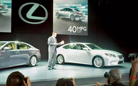 The Lexus ES350 and ES300h hybrid on display at the New York auto show.