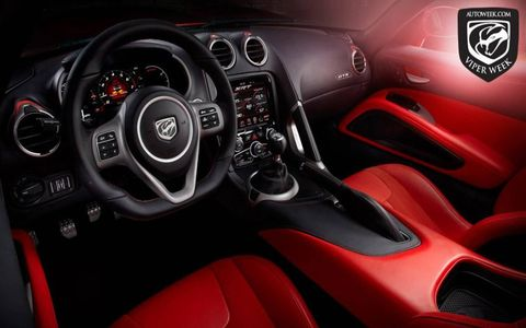 The view from the new Viper's driver's seat is much-improved over previous Vipers. SRT worked with Ferrari supplier Sabelt on the interior.
