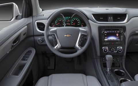 Our test 2013 Chevrolet Traverse included the optional rear-seat entertainment center and a color touch navigation system.