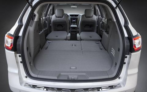 Cargo space in the 2013 Chevrolet Traverse is more than ample, even when both rear rows are upright and in use.