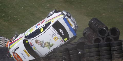 """No reserve // Nick Foster and his BMW had a bad day during race two of the British Touring Car Championship's opening round at Brands Hatch. He walked away uninjured, and said, """"That was the biggest accident I have had for a long time."""""""