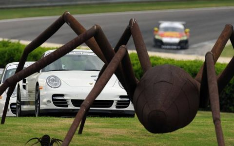 Arachnophobia? Not for the stars of Grand-Am's Rolex Sports Car Series during the race at Alabama's Barber Motorsports Park.