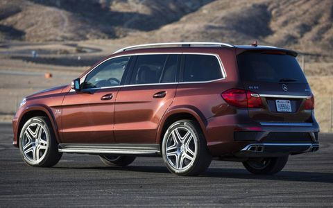 The exhaust note is impressive when the accelerator hits the floor in the 2013 Mercedes-Benz GL63 AMG.
