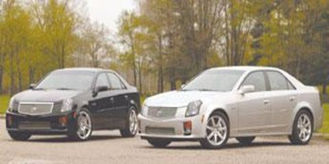 From the exterior, little distinguishes the Mallett from the standard silver CTS-V.  (All photos 2004 Jim Fets. All rights reserved)