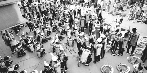 The Purdue Marching Band takes a break at the 2005 Indianapolis 500.