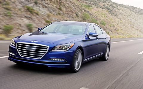 The 2015 Hyundai Genesis 3.8 Sedan has a rather distinctive front end.