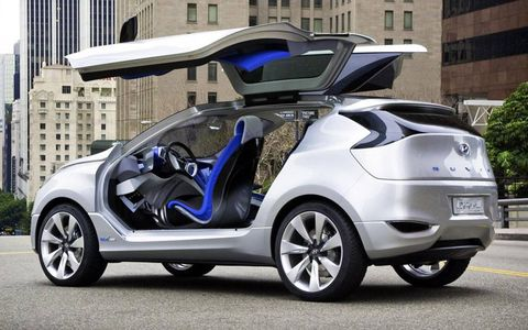 The Hyundai Nuvis concept has gullwing doors. It shows a possible future crossover vehicle.
