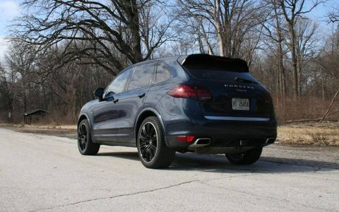 The exterior of the 2013 Porsche Cayenne Diesel had added flair with a rear spoiler, wheel well extenders and black wheels.