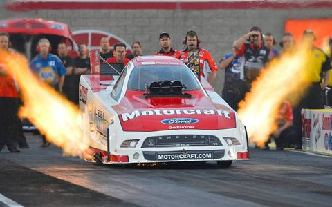 Bob Tasca III in action earlier this month at the NHRA event in Las Vegas.
