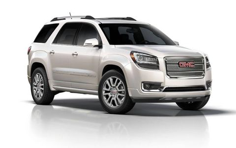 Exterior trim on the 2013 GMC Acadia Denali is not subtle, but begs for attention with flashy chrome accents.