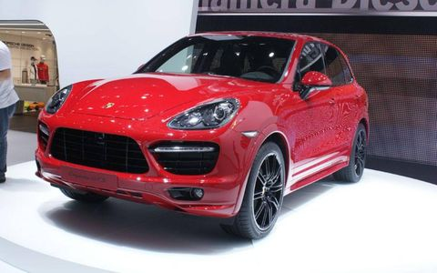 A front view of the Porsche Cayenne GTS shown at the Beijing motor show.