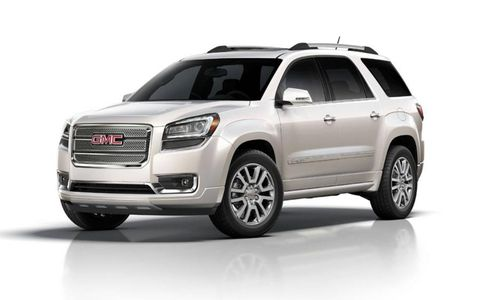 The 2013 GMC Acadia Denali is equipped with a 3.6-liter V6 engine producing 288 hp and 270 lb-ft of torque.