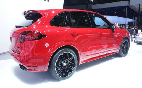 A rear view of the Porsche Cayenne GTS shown at the Beijing motor show.