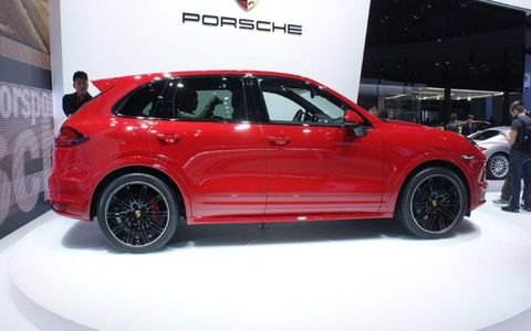 A side view of the Porsche Cayenne GTS shown at the Beijing motor show.