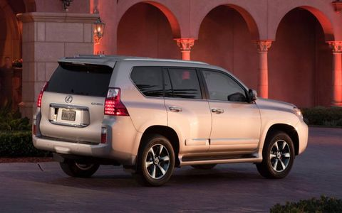 The suspension on the 2013 Lexus GX 460 Limited handles the road well and soaks up the road's imperfections.