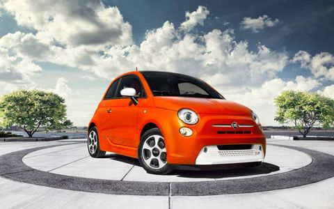 Total power for the 2013 Fiat 500e is 111 hp and 147 lb-ft of torque, which helps the 500e reach an estimated top speed of 85 mph.