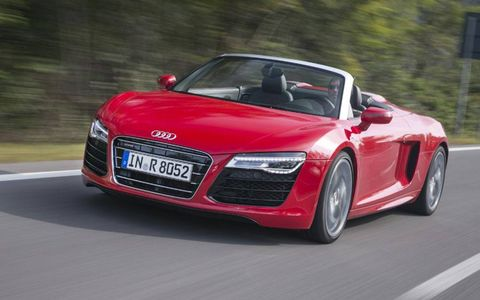 The 2014 Audi R8 V10 Spyder makes 525 hp.