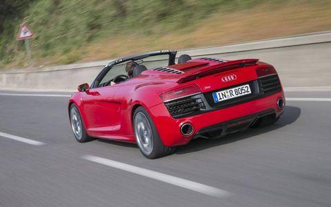 The 2014 Audi R8 V10 Spyder has 398 lb-ft of torque.