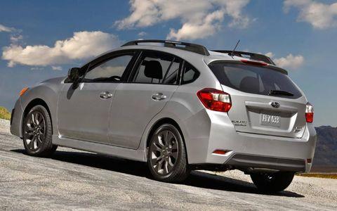 A rear view of the 2012 Subaru Impreza.