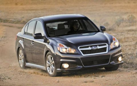 The 2013 Subaru Limited 3.6R is equipped with a flat-six that produces 256 hp with 247 lb-ft of torque.