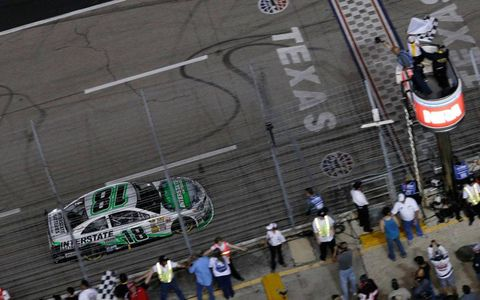Kyle Busch was the first to cross the finish line on Saturday at Texas.