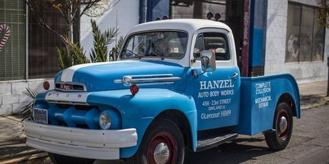 The famed Hanz Lift tow truck, a 1952 Ford F3.