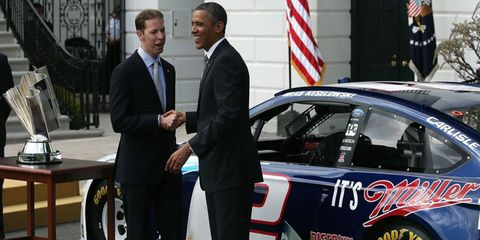 NASCAR Sprint Cup Series champion Brad Keselowski was honored at the White House by President Obama on Tuesday.
