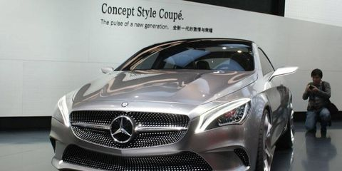 The front of the Mercedes-Benz A-class concept at the Beijing motor show.