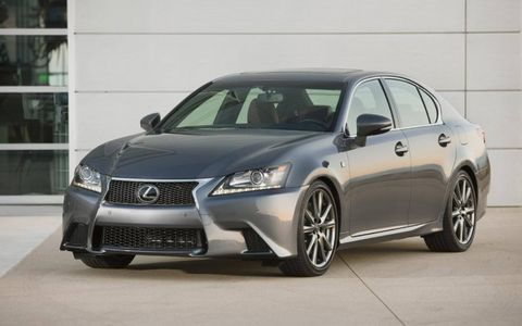The F Sport package adds unique style to the 2013 Lexus GS 350 F Sport with upper and lower grille inserts, 19-inch wheels and 14-inch front brake rotors.
