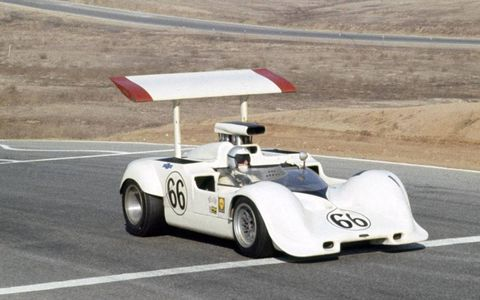 Jim Hall drives the Chapparal in the Can-Am Challenge Cup in Riverside, Calif., in 1968