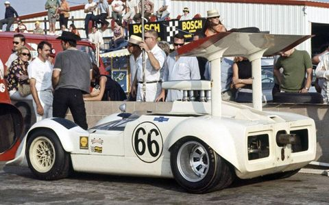 The Chapparal at the Can-Am Challenge Cup at Riverside, Calif., in 1968.