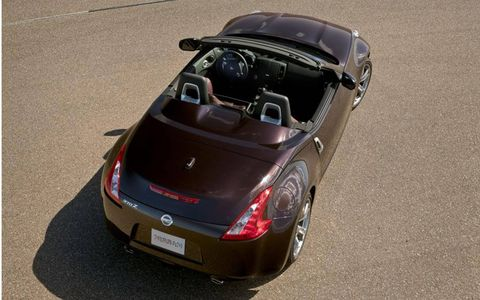 The Nissan 370Z roadster has a soft folding top.