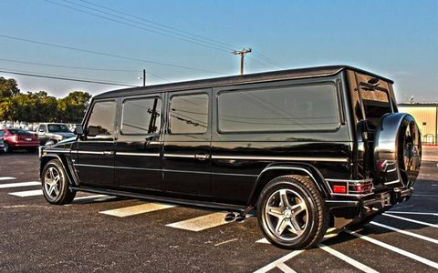 A Merceded G-Class wagon limo with room for diplomats.
