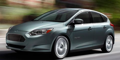 A front view of the 2012 Ford Focus Electric. The car goes on sale in late spring.