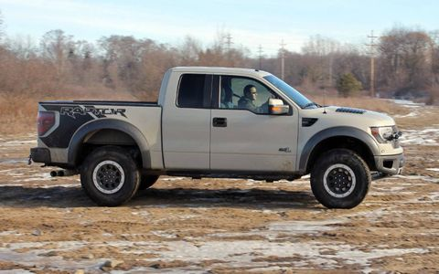 The 2013 Ford F-150 SVT Raptor is powered by a 6.2-liter V8 making 411 hp and 434 lb-ft of torque.