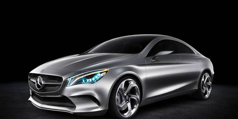 Pictured here officially for the first time, the heavily sculptured four-door reveals the dramatic appearance that the next junior Mercedes-Benz sedan will carry into North American showrooms in 2013.