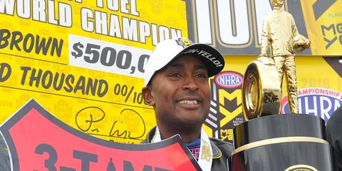 Antron Brown captured the NHRA Top Fuel championship on Sunday at Las Vegas.