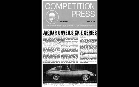 Competition Press coverage of E-type unveiling, 3-25-1961