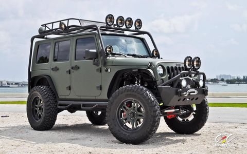A highly-modified Jeep Wrangler built by CEC Wheels Miami.