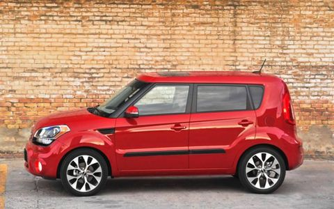 The 2013 Kia Soul! is equipped with a 2.0-liter I4 producing 164 hp and 148 lb-ft of torque.