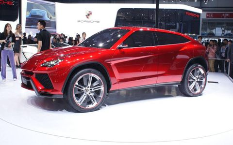 A front view of the Lamborghini Urus SUV concept at the Beijing motor show.
