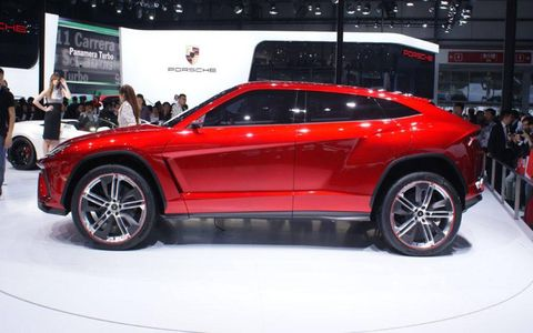 A side view of the Lamborghini Urus SUV concept at the Beijing motor show.