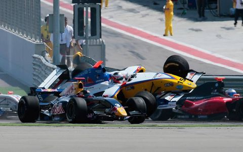 Stephane Richelmi (No. 15) didn't get far in race two of Formula Renault 3.5's opening weekend at Spain's Motorland Aragon circuit, thanks to this crash at the start of the event on April 17. Photo by Diederik van der Laan / LAT Photographic