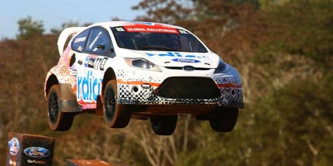 Global RallyCross rookie Scott Speed was the big winner in Brazil as Ford Fiestas swept the three podium positions at X Games Foz do Iguaçu.