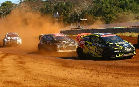 Tanner Foust leads a pack in Brazil during the X Games RallyCross competition.